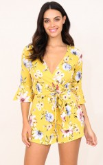 What Else Is New playsuit in mustard floral