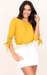 Love Not Wasted top in mustard