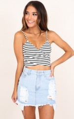 Take A Minute crop top in black and white stripe
