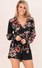 The Last Bloom playsuit in black floral