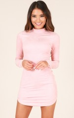 Save Tonight dress in blush suedette