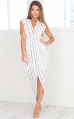 Driving Force dress in white stripe