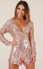 Expensive Taste playsuit in rose gold sequin