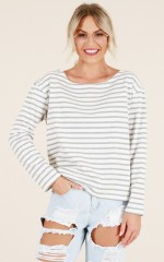 Lost Wanderer top in grey stripe