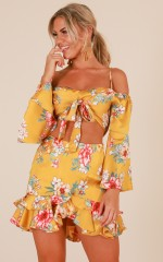 Daytime Diva two piece set in mustard floral