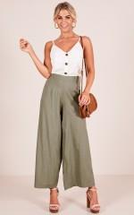 All She Wants pants in Khaki Linen Look