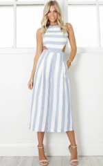 Out Dream Yourself jumpsuit in blue stripe linen look