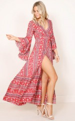 Boho Breeze Maxi Dress in red print