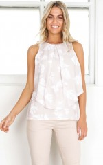 Can and Will top in beige print
