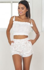 Crystal Eyes shorts in white lace