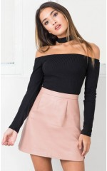 Fast Car skirt in blush leatherette