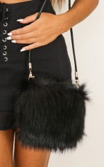 Fluffy Dreaming purse in black faux fur