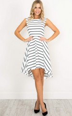 Hysteria dress in white stripe