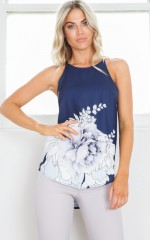 High Roller top in navy floral