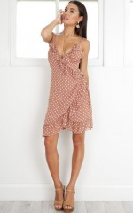 Lockdown Dress in brown polkadot