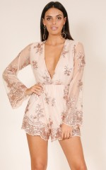 Like You Know Me playsuit in rose gold sequin