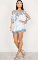 Make Me Happy Playsuit in blue print