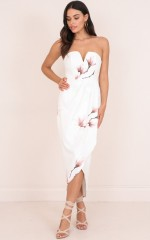 Never Look Back dress in white floral