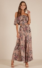 Count Your Lucky Stars two piece set in mocha floral