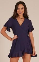 Sashay Away dress in navy linen look