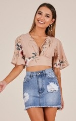 Spell On You top in mocha floral