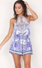 Shine A Light Playsuit in blue print