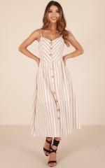 Sunrise Lover dress in beige stripe linen look