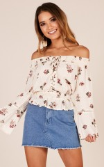 So Refreshed top in cream floral