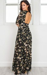 Something To Behold maxi dress in black floral
