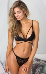 Two Hearts bralette set in black lace