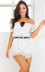 Through The Dark playsuit in white lace