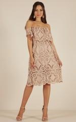 Get Ready dress in beige lace