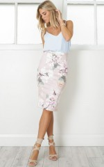 Claim It Back skirt in mauve floral