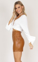 Know You Better skirt in tan leatherette