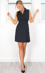 Undertake Vest Dress in black