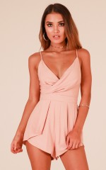 Bon Voyage playsuit in blush linen look