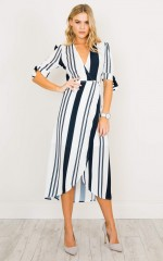 Up Higher dress in white stripe