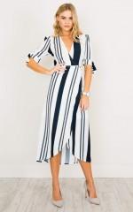 Up Higher dress in white stripe