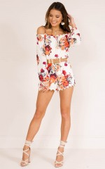 Walk Out playsuit in white floral