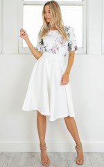 Whirlwind midi skirt in white