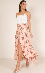 Wildflower wrap skirt in blush floral