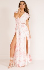 You Were There maxi dress in beige print