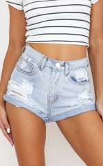 Youth In Love Denim Shorts in Light Wash