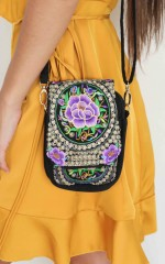 Rubirosa bag in purple embroidery