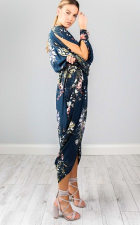 Roll Up maxi dress in teal floral