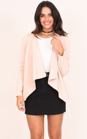 A New World jacket in blush suedette