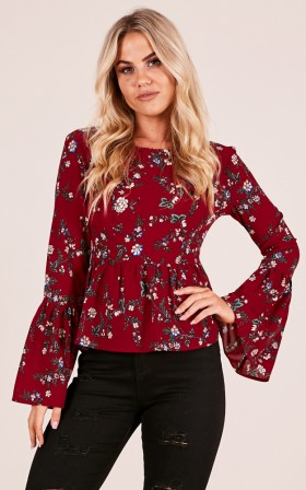 Back On My Mind top red floral