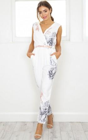 Breakin Hearts jumpsuit in white floral