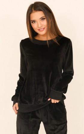 Gone For Good sweater in black velour