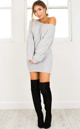 Grey Area Knit Dress in grey